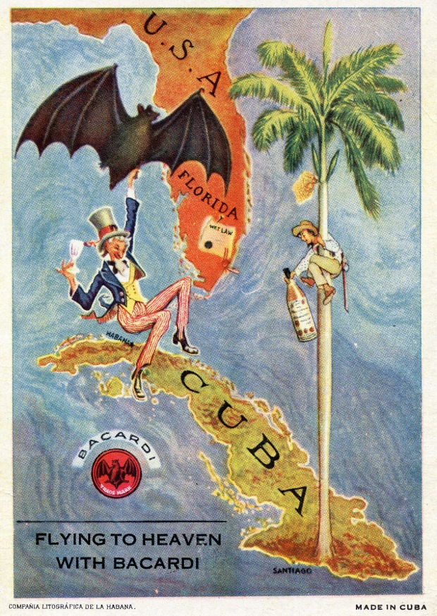 "Bacardi prohibition era postcard email, has Florida at top and Cuba on bottom, with people drinking rum in between. Bacardi logo then text below ""Flying to Heaven with Bacardi"""