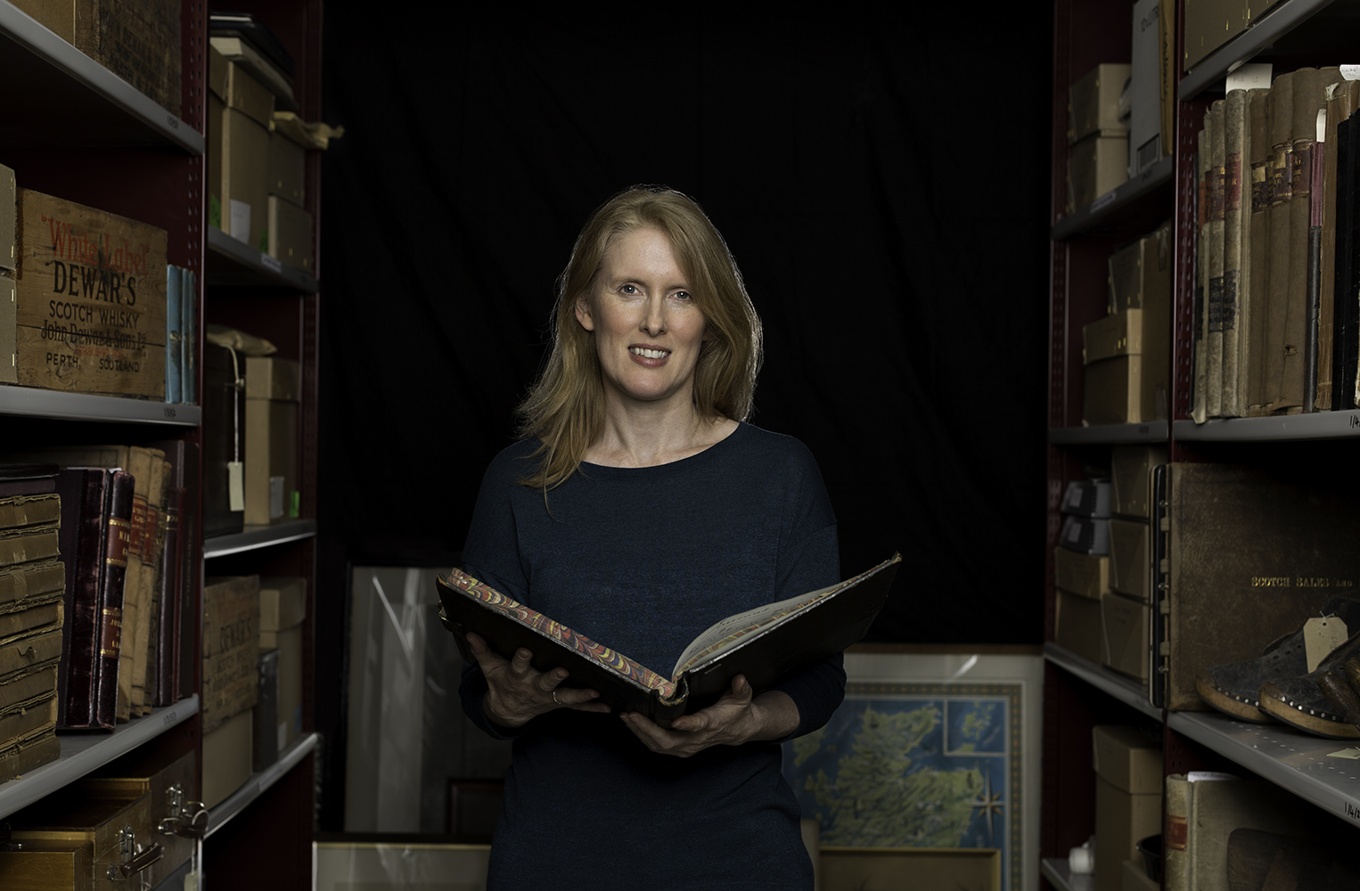 Jacqui Seargeant in the Scotch whisky archive