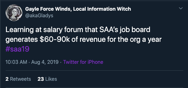 "Screenshot of Tweet by @akaGladys: Learning at salary forum that SAA's job board generates $60-90k of revenue for the org a year #saa19"" 10:03 AM Aug 4, 2019 Twitter by IPhone 2 Retweets 23 Likes"