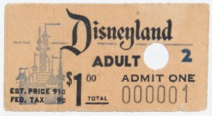 The first ticket purchased for Disneyland, bought on opening day July 18, 1955 by Roy O. Disney, co-founder of the Walt Disney Company. Courtesy of Walt Disney Archives Photo Library.