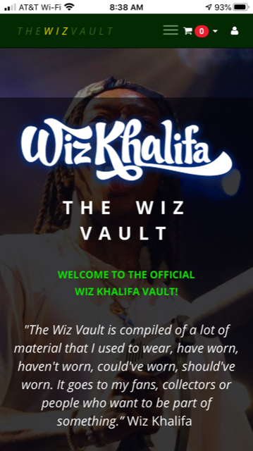 Text imposed on image of Wiz Khalifa: 'The Wiz Vault. Welcome to the Official Wiz Khalifa Vault! The Wiz Vault is compiled of a lot of material that I used to wear, have worn, haven't worn, could've worn, should've worn. It goes to my fan, collectors or people who want to be part of something.' Wiz Khalifa""
