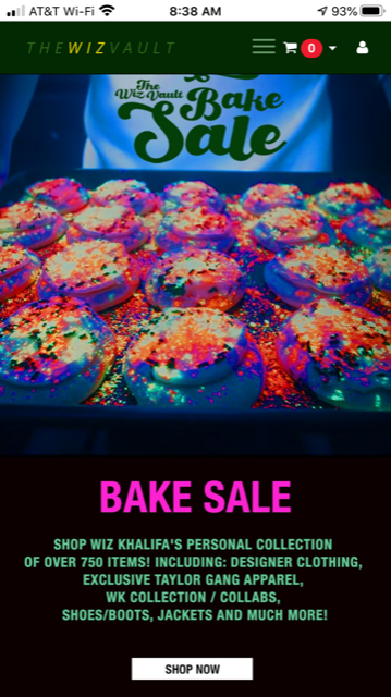 Text over image of baked goods with neon sprinkles: The Wiz Khalifa Bake Sale. Bake Sale. Shop Wiz Khalifa's personal collection of over 750 items! Including: Designer clothing, exclusive Taylor Gang apparel, WK Collection/ ollabs, Shoes/Boots Jackets and much more! Shop now.""