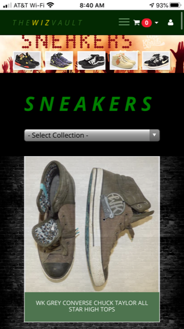 "Image of shoes, looks like a selection for shopping. Text: Sneakers, then drop down menu ""Select Collection"" then image of shoes described by text: WK Grey Converse Chuck Taylor All Star High Tops."